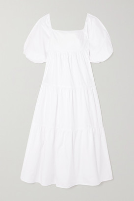 Faithfull The Brand + Net Sustain Kiona Tiered Cotton-poplin Midi Dress - White