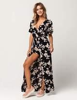 Angie Floral Womens Walk Thru Maxi Romper