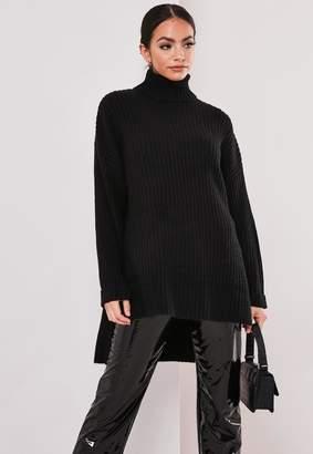 Missguided Petite Black Oversized Step Hem Jumper