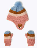 Marks and Spencer Kids Striped Trapper Hat & Mitten Set (6 Months - 6 Years)