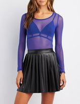 Charlotte Russe Sheer Mesh Crew Neck Top