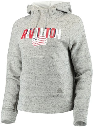 adidas Women's Heathered Gray New England Revolution Inner Drop Transitional Pullover Hoodie