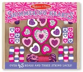 Melissa & Doug ; Shimmering Hearts Wooden Bead Set
