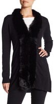 Sofia Cashmere Genuine Solid Dyed Fox Fur Trim Open Cashmere Cardigan