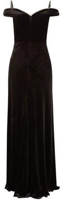 Maria Lucia Hohan Ayla Crystal-embellished Velvet Maxi Dress - Black