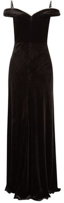 Maria Lucia Hohan Ayla Crystal-embellished Velvet Maxi Dress - Womens - Black