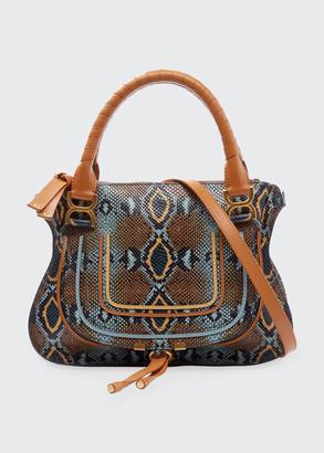 Chloé Marcie Medium Python-Print Double Carry Shoulder Bag