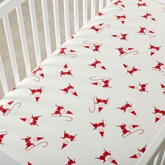 west elm Organic Smiley Santa Crib Fitted Sheet - Flannel