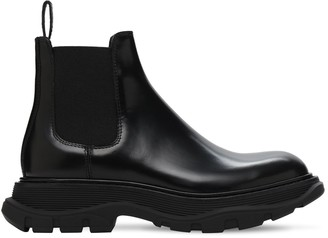 Alexander McQueen 45mm Tread Show Leather Ankle Boots