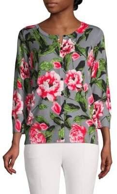 Joseph A Button-Front Floral-Print Cardigan