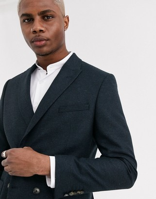 Shelby & Sons slim double breasted blazer with patch pockets in navy