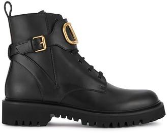 Valentino Garavani V Logo 50 Black Leather Boots