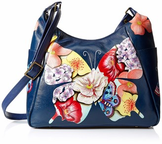 Anna by Anuschka Hand Painted Leather Women's Large Multi Pocket HOBO