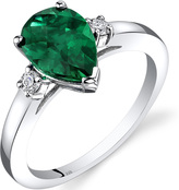 Ice 1 6/7 CT TW Lab-Created Emerald 14K White Gold 3-Stone Ring with Diamond Accents