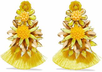 Elizabeth Cole 24-karat Gold-plated, Crystal, Resin And Tassel Earrings