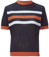 MAISON KITSUNÉ Women's Stripes Openwork Jumper Navy