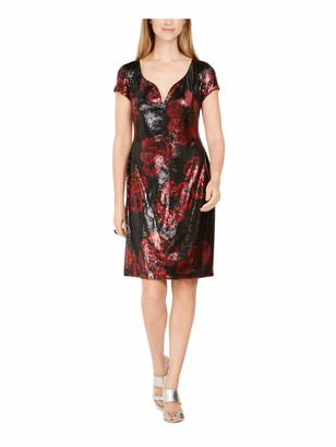 Connected Apparel Womens Red Sequined Floral Cap Sleeve V Neck Knee Length Sheath Cocktail Dress UK Size:16