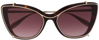 Alexander McQueen Eyewear Tortoiseshell Cat-Eye Sunglasses