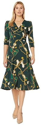 Donna Morgan Status Print 3/4 Sleeve Lightweight Stretch Crepe Fit and Flare Dress (Green Cali Chain) Women's Clothing