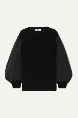 Valentino Paneled Cotton-blend Poplin And Wool And Cashmere-blend Sweater - Black
