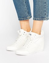 G Star G-Star New Labor White Denim Wedge Sneakers