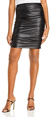 Aqua Ruched Faux Leather Skirt - 100% Exclusive