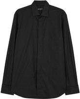 Corneliani Black Cotton Tuxedo Shirt