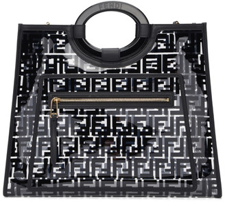 Fendi Transparent and Black Medium PU Runaway Tote