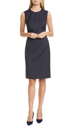 BOSS Dometa Pinstripe Sleeveless Stretch Wool Sheath Dress