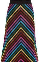 Gucci Metallic Striped Stretch-knit Midi Skirt - Black