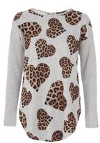 Quiz Grey Leopard Heart Print Knitted Top