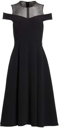 Teri Jon By Rickie Freeman Illusion Yoke Cold-Shoulder A-Line Dress