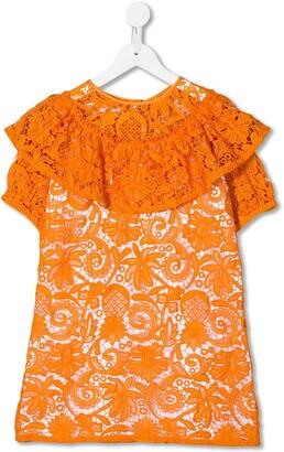 No21 Kids Ruffled Lace Dress