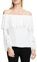 Vince Camuto Women's Lace Trim Off The Shoulder Blouse