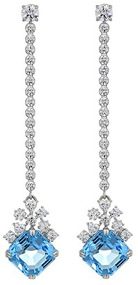 Swarovski Sparkling Linear Pierced Earrings (Aquamarine) Earring