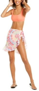 Miken Juniors' Tie-Dyed Chiffon Tie-Waist Sarong Cover-Up, Created for Macy's Women's Swimsuit