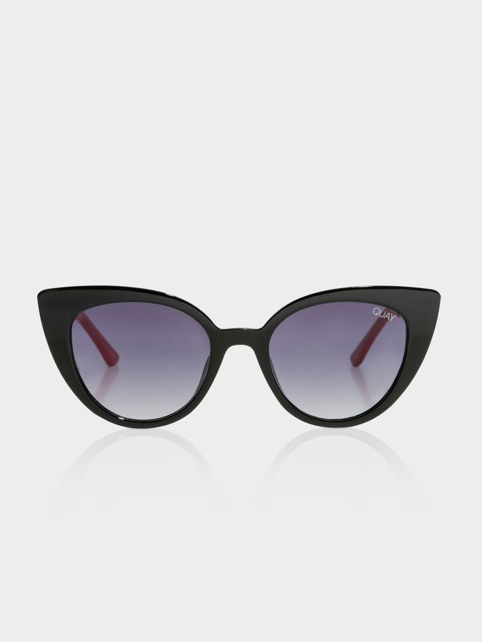 Quay Audacious Cat-Eye Sunglasses in Gloss Black