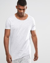 Asos Longline T-Shirt With Asymmetric Hem In Nepp Fabric And Raw Edge With Scoop Neck