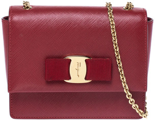 Salvatore Ferragamo Red Leather Bow Flap Chain Shoulder Bag