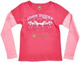John Deere Magenta 'Cowgirl' Layered Tee - Girls