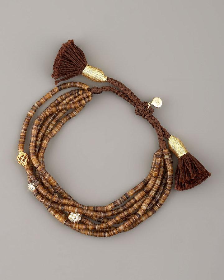 Tai Brown-Bead Tassel Bracelet