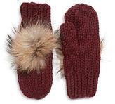 Linda Richards Wool Mittens with Fur Pom Pom