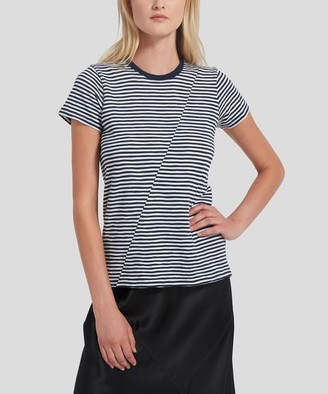 Atm Striped Jersey Short Sleeve Tee - Navy/ White Stripe
