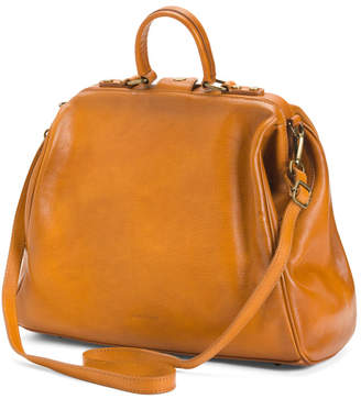Made In Italy Doctor Frame Leather Satchel