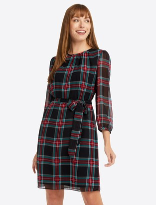 Draper James Belted Shift Dress in Georgia Plaid