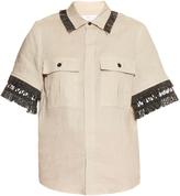 Toga Fringle-trimmed linen short-sleeved shirt