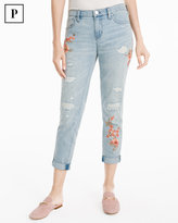 White House Black Market Petite Floral Embroidered Girlfriend Jeans
