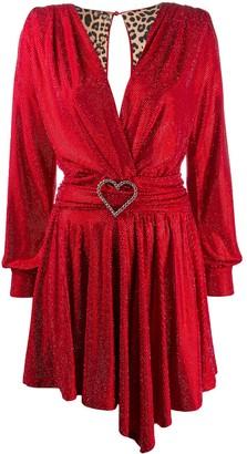 Philipp Plein Deep V-Neck Draped Dress