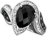 Macy's Sterling Silver Ring, Onyx and Diamond (1/10 ct. t.w.)