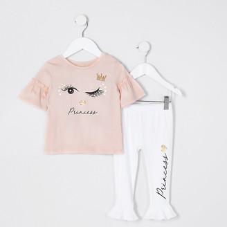 River Island Mini girls Pink eyelash print T-shirt outfit